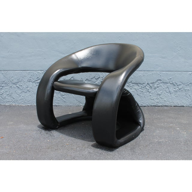Vintage Mid Century Modern Futuristic Black Leather Club Chair For Sale - Image 11 of 11