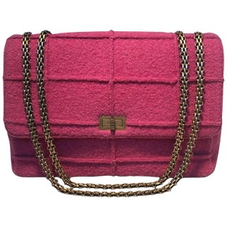Chanel Magenta Tweed Maxi Classic Flap Shoulder Bag For Sale