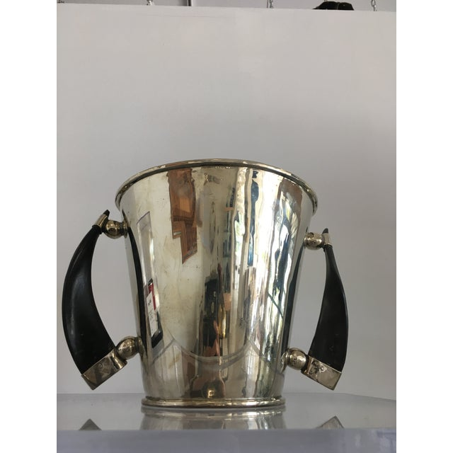Silver Plate Wine Cooler Ice Bucket With Horn Handles For Sale - Image 12 of 13