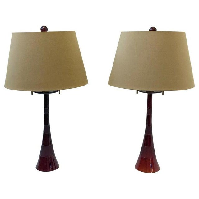 Italian Ruby Red Murano Glass and Brass Table Lamps by Donghia - a Pair For Sale - Image 13 of 13