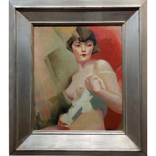 Reva Jackman Student of André Lhote 1927 Cubist Portrait of a Nude Female-Oil Painting For Sale