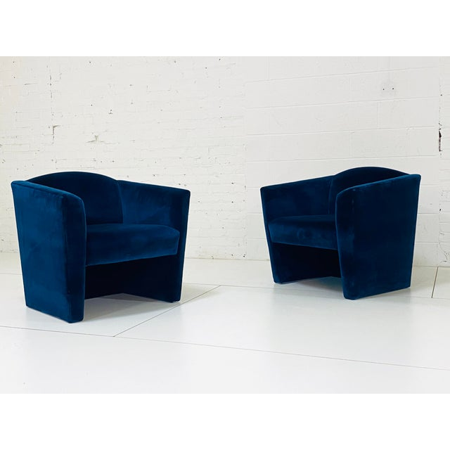 Pair Sculptural Post Modern Lounge Chairs. Angular barrel back form in newly reupholstered sapphire cotton velvet.