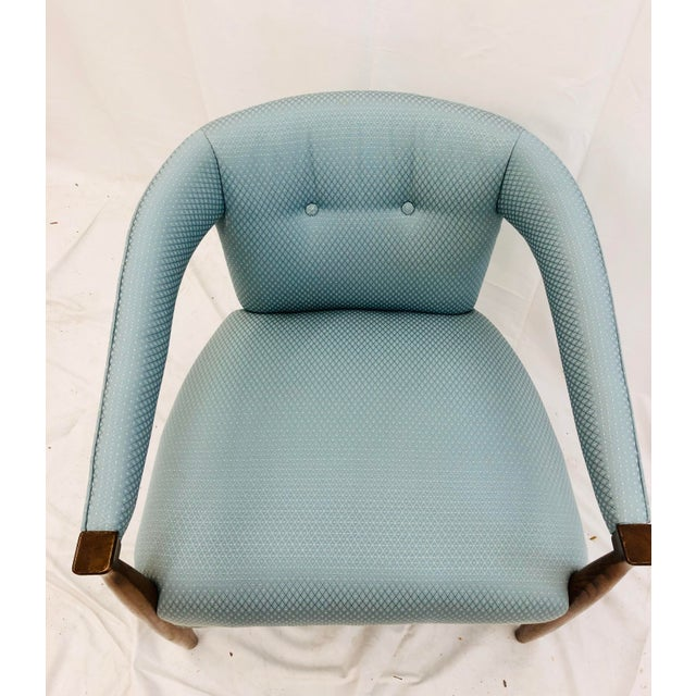 Blue Vintage Mid Century Modern Arm Chair & Ottoman For Sale - Image 8 of 13