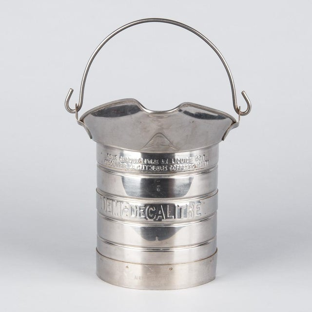 1950s French Silver Metal Measuring Milk Pitcher For Sale - Image 12 of 13