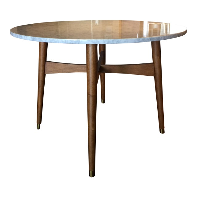 West Elm Reeve Mid Century Marble Dining Table Chairish - Mid century marble dining table