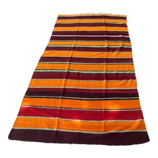 Moroccan Vintage Flat-Weave Tribal Rug For Sale