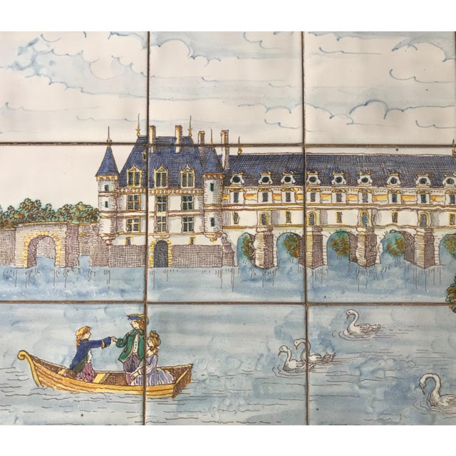 Metal 1980s French Handpainted Tile Table With French Chateau Chenonceau For Sale - Image 7 of 8