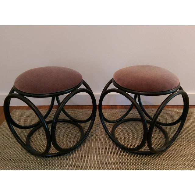 Mohair Thonet-Style Bentwood Ottomans - A Pair - Image 2 of 7