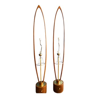 Teak and Brass Oval Danish Floor Lamps - a Pair For Sale