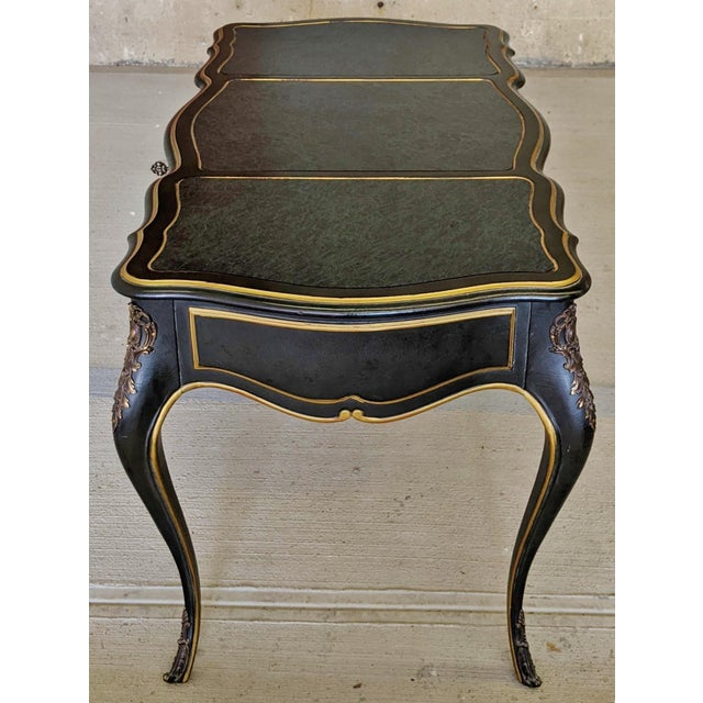 Mid-Century Modern Vintage Louis XVI Style Bronze Mounted & Faux Marble Painted Top Blue Desk For Sale - Image 3 of 13
