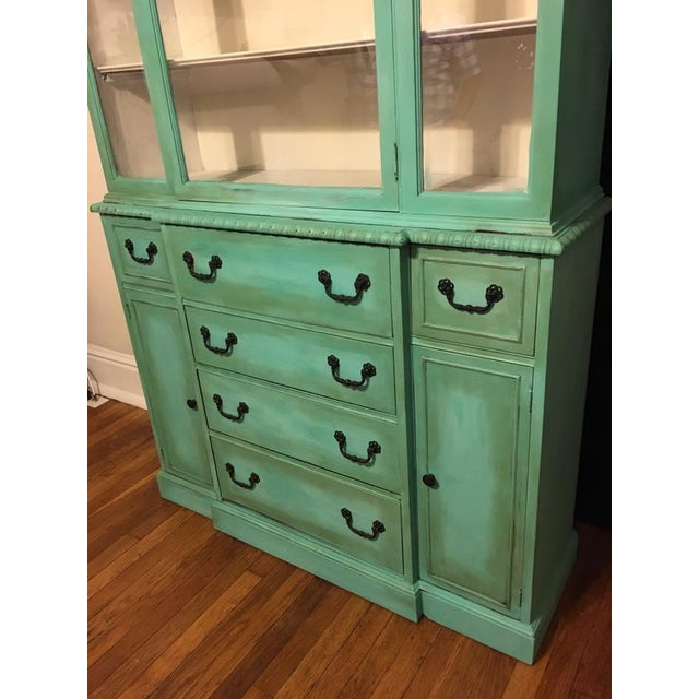 Vintage Green China Cabinet For Sale - Image 4 of 8