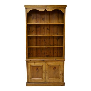 Vintage English Pine Bookcase With Two Doors For Sale