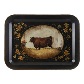 Vintage Brown Cow Tole Tray For Sale