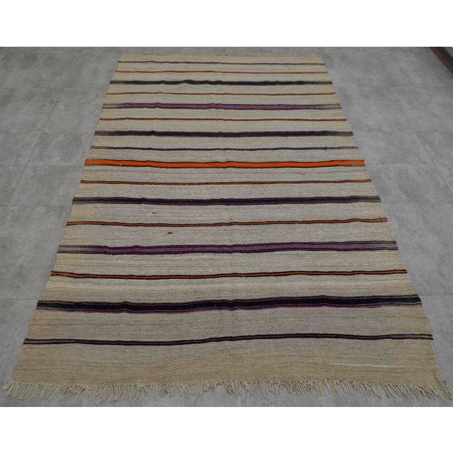 Vintage Natural Turkish Wool Stripe Kilim Rug - 4′6″ × 7′8″ - Image 5 of 9