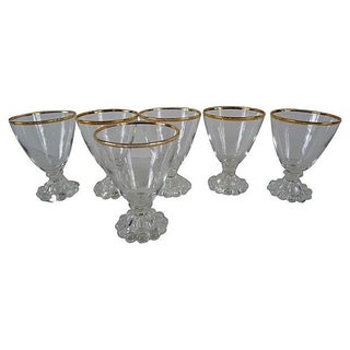Mid-Century Gold Rim Juice Glasses - Set of 6 For Sale