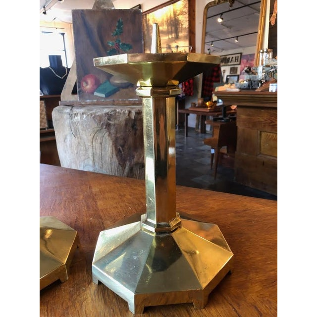 1930s Brass Candlesticks From Germany - a Pair For Sale - Image 4 of 9