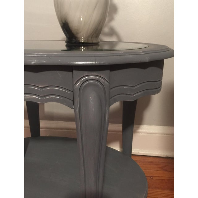 Painted Glass Top Side Table - Image 4 of 7