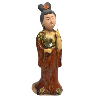 Chinese Tang Terracotta Pottery Court Lady Figurine For Sale