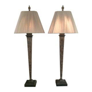 Baroque Architectural Wood Lamps - A Pair
