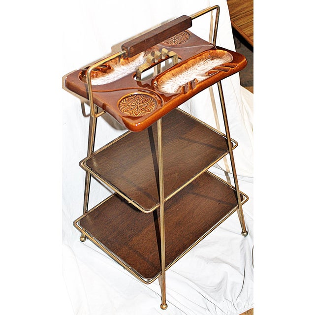 Mid-Century Modern Metal & Ceramic Smoking Stand - Image 3 of 8