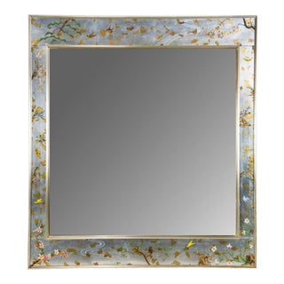 La Barge Silver Chinoiserie Beveled Mirror