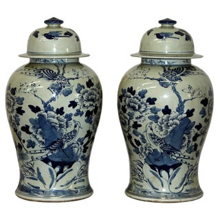 2010s Asian Style Blue & White Peacock Ceramic Ginger Jars - a Pair
