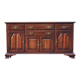 Vintage Early American Style Solid Cherry Sideboard by Taylor Jamestown For Sale