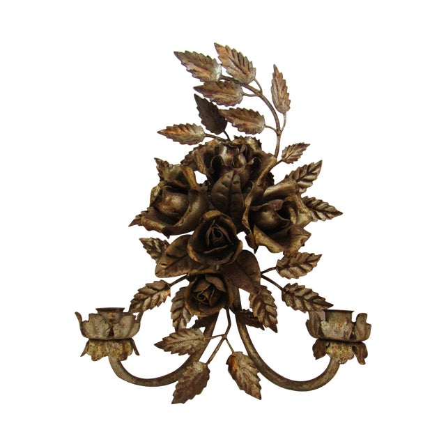 Antique Florentine Gilted Metal Candle Sconce - Image 1 of 5