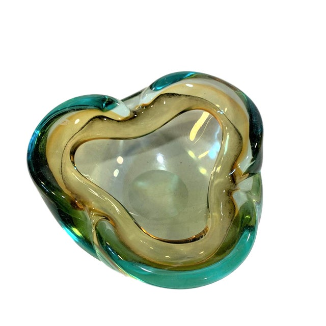 Vintage Murano Art Glass Sommerso Pale Amber and Cyan Bowl/Ashtray For Sale - Image 6 of 6