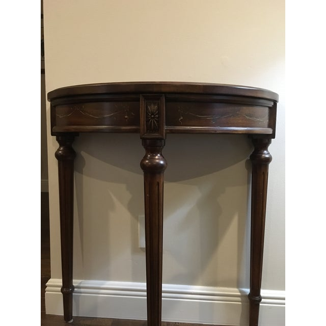 2000 - 2009 Traditional Ethan Allen Demi-Lune Accent Table For Sale - Image 5 of 7