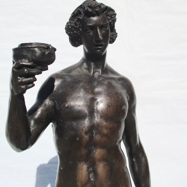 Figurative Bronze Bacchus and Fawn Sculpture For Sale - Image 3 of 10