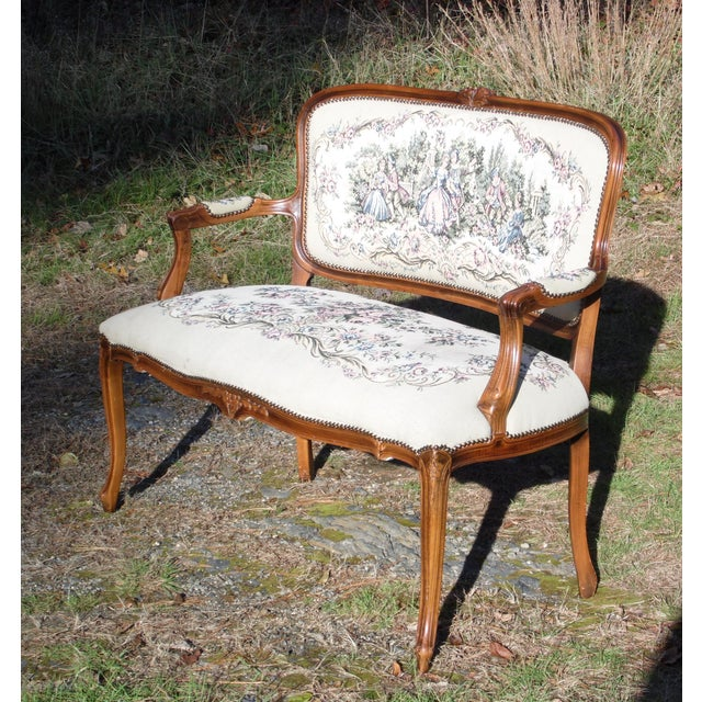 Fabric Vintage French Provincial Louis XV Style Tapestry Settee Chateau d'Ax Italy For Sale - Image 7 of 13
