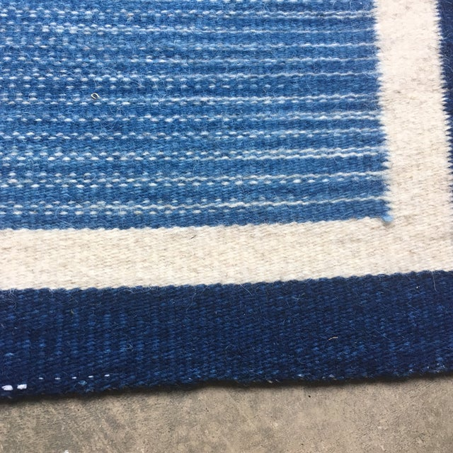 Hand Dyed Mexican Indigo Blue Wool Rug - 1′11″ × 2′9″ - Image 3 of 7