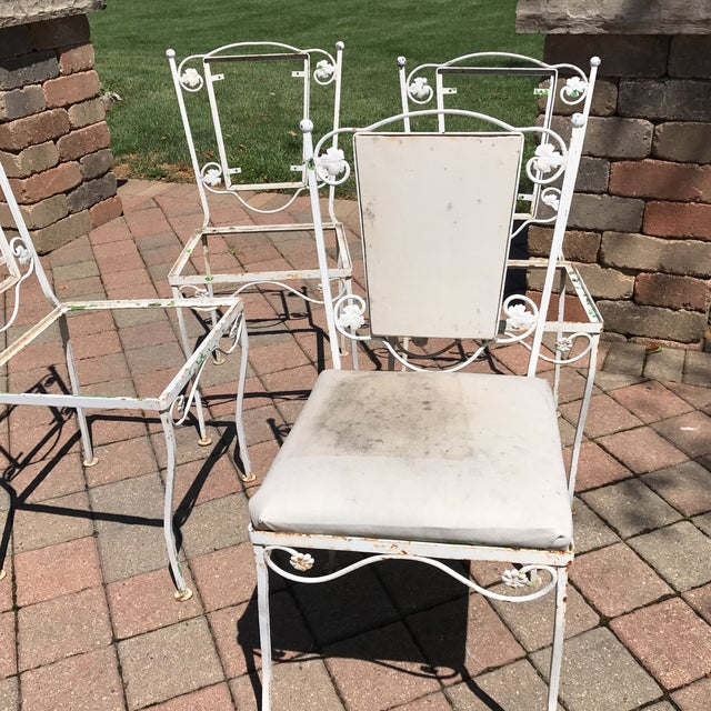 Vintage Wrought Iron Chairs - Set of 4 - Image 8 of 8
