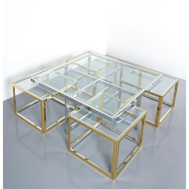 Square Segment Bicolor Brass Glass Coffee Table by Maison Charles, France 1975 For Sale - Image 12 of 13