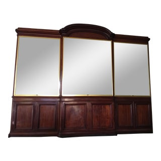 Antique Rosewood Shop Display Case With Miiror and Glass