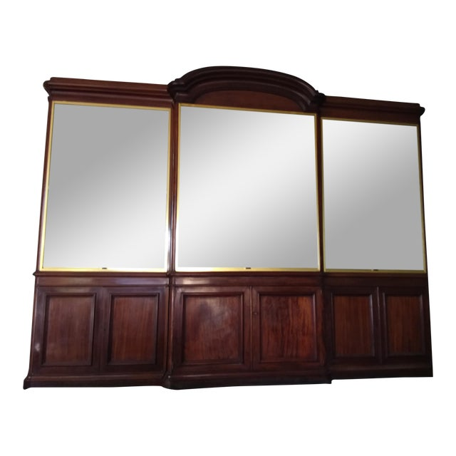 Antique Rosewood Shop Display Case With Miiror and Glass For Sale
