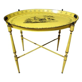 1940's Italian Neoclassical Tole Tray Table For Sale