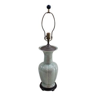 Vintage Mid-Century Celadon Vase Lamp