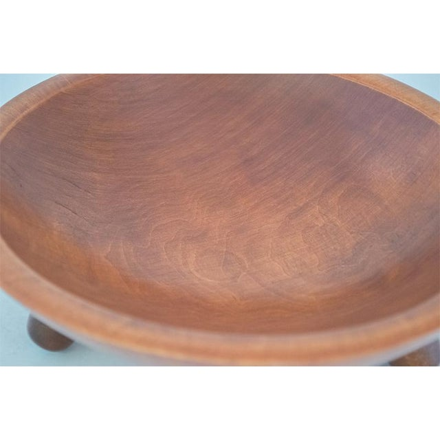 Munising Oval Wooden Bowl With Handle For Sale - Image 4 of 7