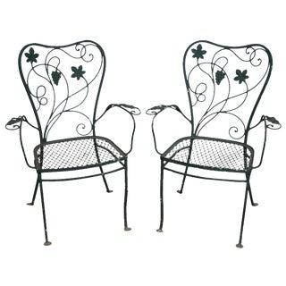 Vintage Salterini Wrought Iron Garden Patio Arm Chairs - a Pair