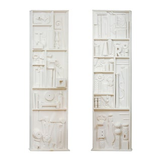 Incredible Pair of Found Objects Sculpture Panels After Louise Nevelson For Sale