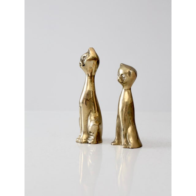 Boho Chic Mid-Century Brass Cat Figurines - A Pair For Sale - Image 3 of 6