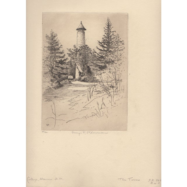 Realism George T. Plowman The Tower Dartmouth Etching For Sale - Image 3 of 3