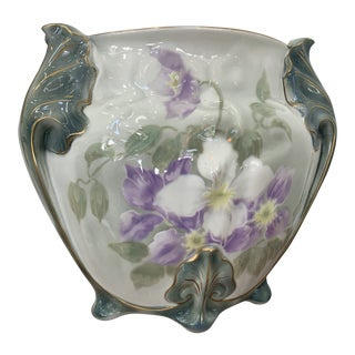 Antique Green and Purple Floral French Lunneville Cache Pot For Sale