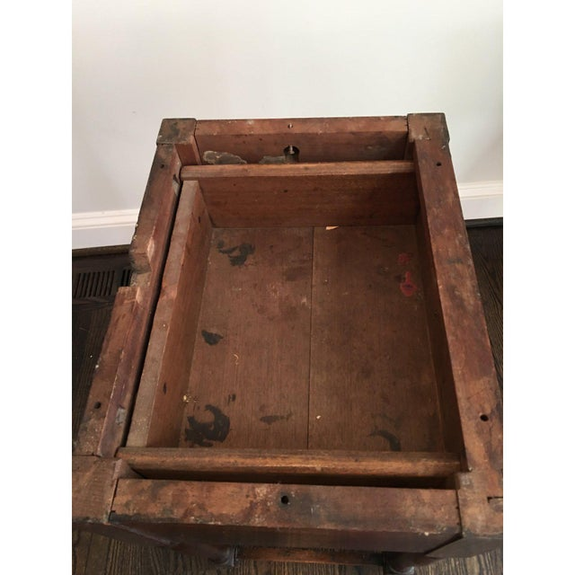 Wood 20th Century Rustic Drop Leaf Work Table For Sale - Image 7 of 10