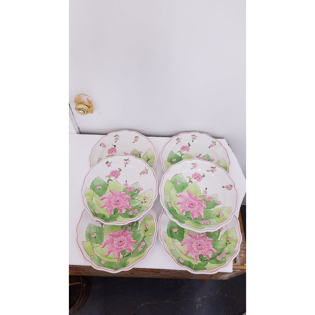 1960s Pink and Green Floral Dinner Plates - Set of 6 For Sale - Image 4 of 5