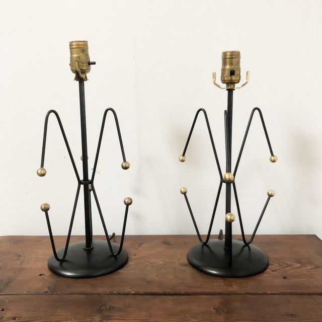 Mid Century Black & Brass Weinberg Lamps - a Pair For Sale - Image 9 of 9