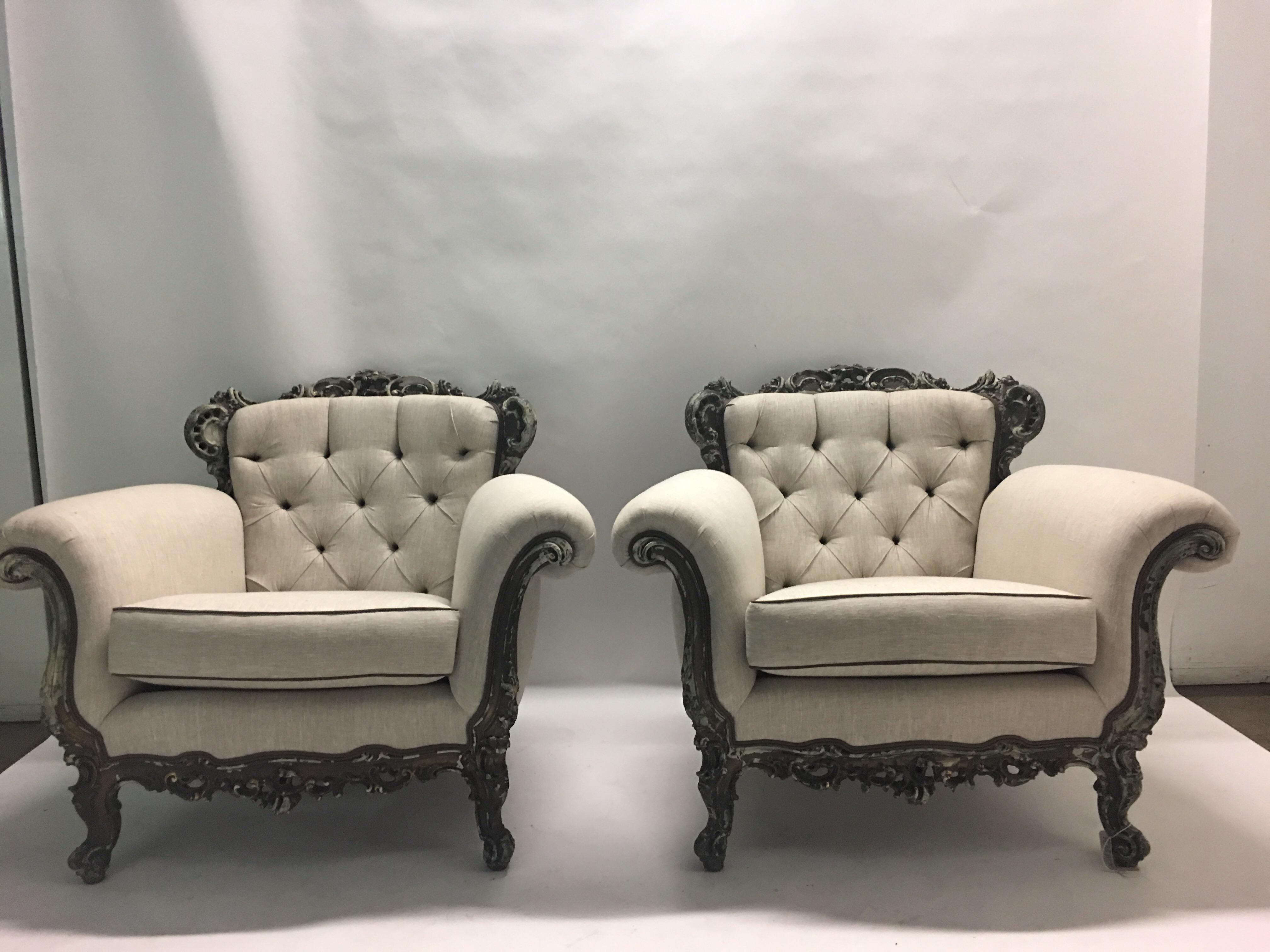 Beau Antique French Victorian Lounge Chairs   A Pair   Image 2 Of 11