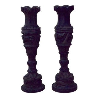 Hand Carved Ebony Candle Holders - A Pair